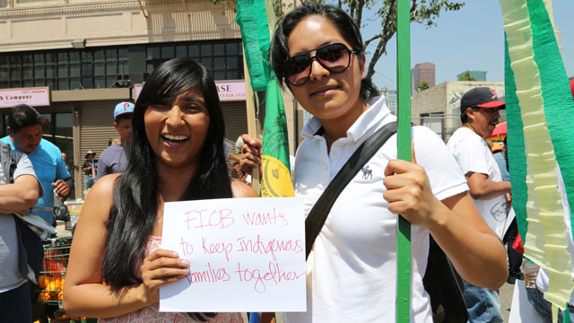 PHOTO: Janet Martinez and Karen Fernandez demonstrate at a May Day rally in Los Angeles.