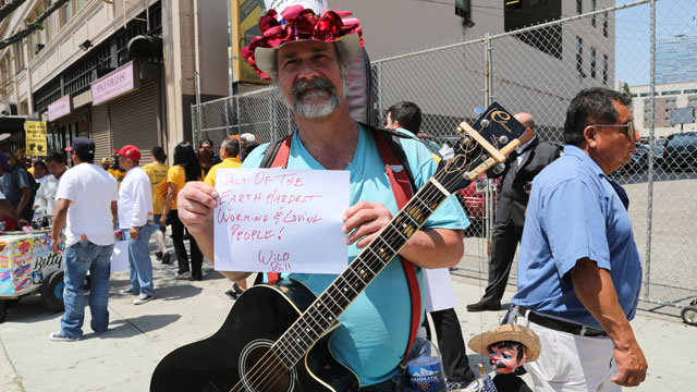 PHOTO: Wild Bill Fisher demonstrates at a May Day rally in Los Angeles.