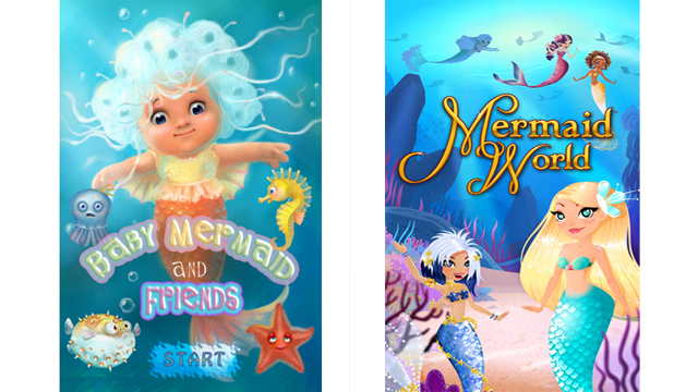 PHOTO:Some examples of mermaid apps for iPhone.