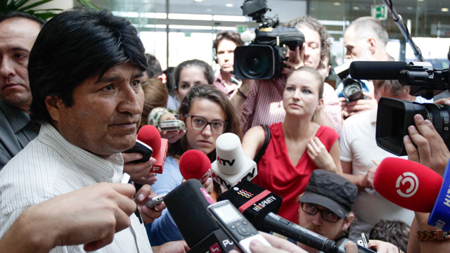 PHOTO: Bolivian President Evo Morales holds a press conference at the Vienna International Airport on July 3, 2013.