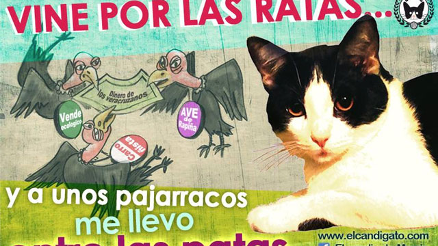 "PHOTO: ""I came for the rats,"" reads this campaign Facebook meme for Morris the Cat. ""And Ill trounce the vultures with my legs."""