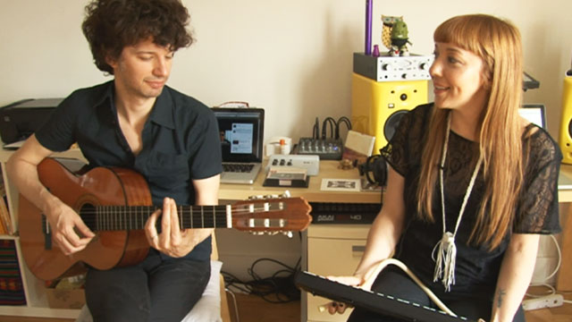 PHOTO:Latin music power couple Natalia Clavier and Federico Aubele at their Brooklyn apartment.