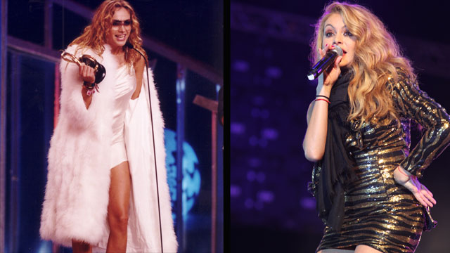 PHOTO:Paulina Rubio at Premio Lo Nuestro in 2001 and performing during a concert in 2011.