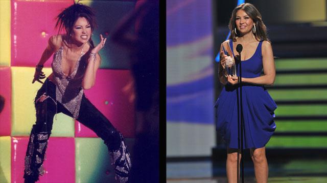 PHOTO:Thalia at Premio Lo Nuestro in 2001 and in 2010.