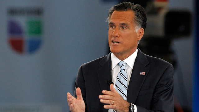 "PHOTO: Mitt Romney participated in a ""Meet the Candidate"" event hosted by Univision news anchors Jorge Ramos and Maria Elena Salinas on Wednesday, Sept. 19, at the University of Miami."