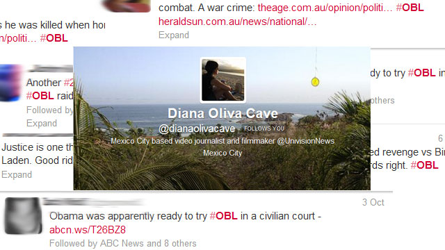 PHOTO:Reporter Diana Oliva Cave's most notable Twitter experience.