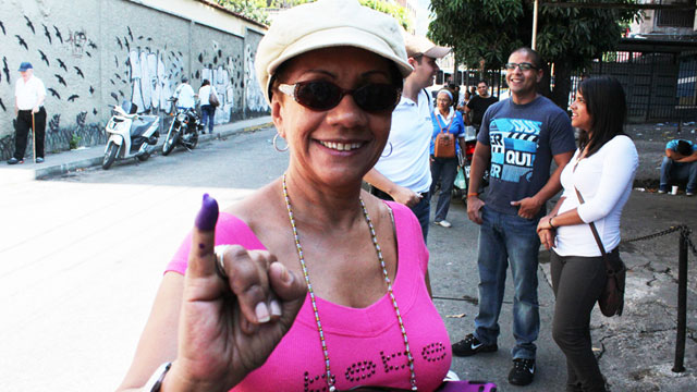 PHOTO:Lesbia Gonzalez began to line up at her voting station in Caracas at 5:30 am. It took her 3 and a half hours to cast her vote.