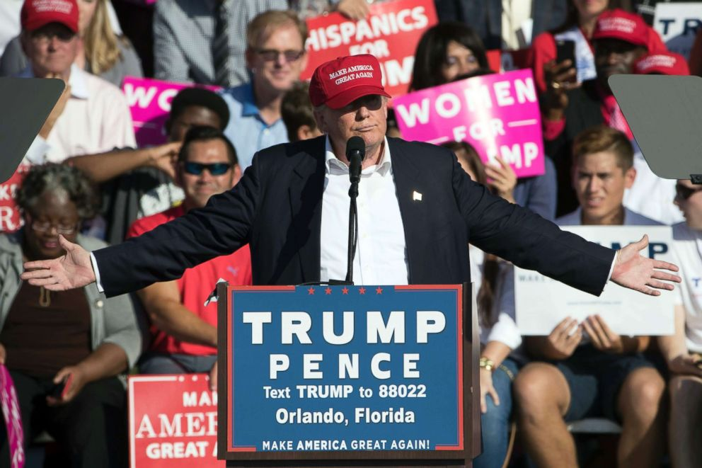 PHOTO: Republican presidential candidate Donald Trump speaks during a campaign stop in Orlando, Fla., Nov. 2, 2016.