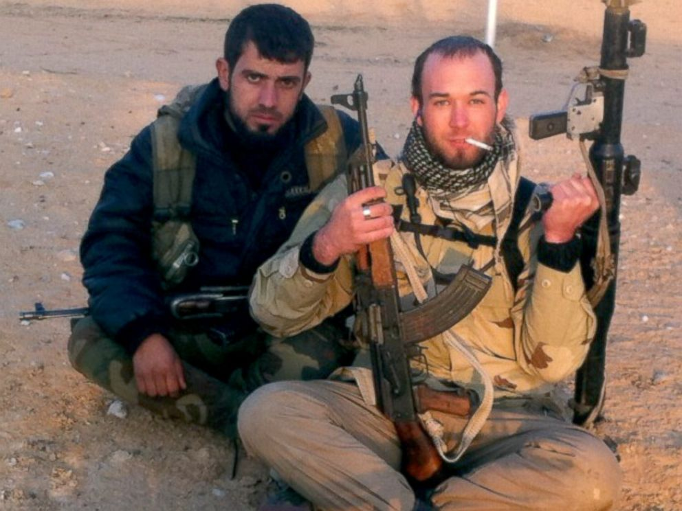 PHOTO: Eric Harroun, a U.S. Army veteran, right, fought with the rebels in Syria.