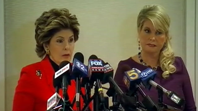 PHOTO: Attorney Gloria Allred and Sharon Bialek, the woman who says she is a victim of Herman Cains harassment, speak at a press conference at in Chicago, Dec. 5, 2011.