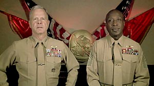 Commandant Gen. James Amos, left, and Sergeant Major Carlton Kent, right, deliver a message to Marines on the repeal of the military?s ?don?t ask don?t tell?