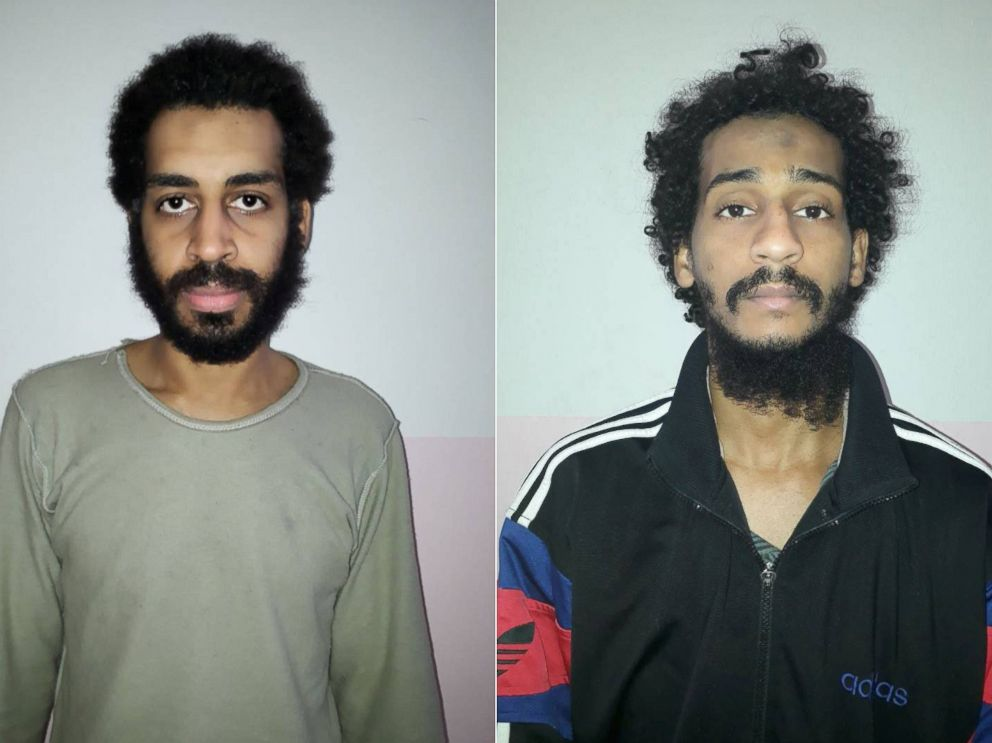 PHOTO: A combination picture shows (L-R) Alexanda Kotey and Shafee Elsheikh, who the Syrian Democratic Forces (SDF) claim are British nationals, in these undated handout pictures in Amouda, Syria released Feb. 9, 2018.