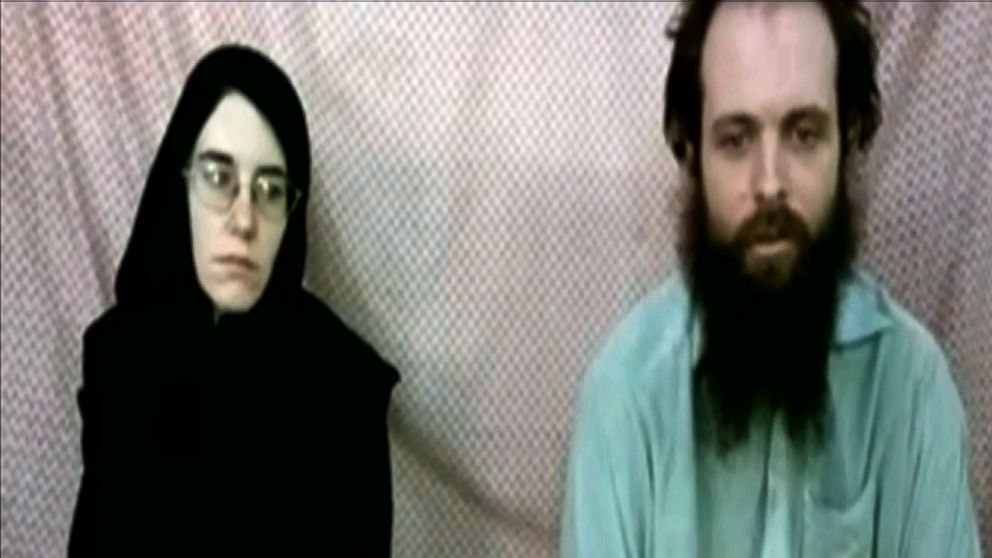 This frame grab from video provided by the Coleman family shows Caitlan Coleman and Joshua Boyle. The family of a then-pregnant American woman who went missing in Afghanistan in late 2012 with her Canadian husband received two videos last year in which the couple asked the U.S. government to help free them from their Taliban captors, The Associated Press has learned.