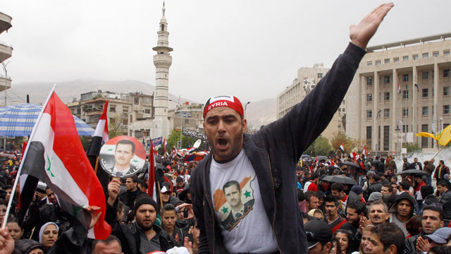 PHOTO: A pro-Syrian regime protester, shouts pro-Syrian President Bashar Assad slogans during a demonstration, Damascus, during a demonstration against the Arab League meeting being held in Morocco, Syria, Nov. 16, 2011.