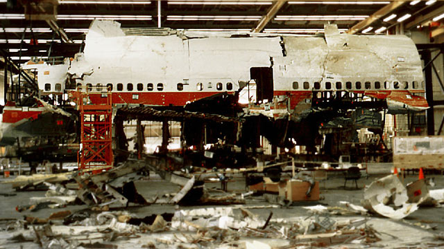 PHOTO: Reconstruction work was taking place in Calverton, N.Y., on TWA Flight 800 which crashed into the Atlantic Ocean off New Yorks Long Island, March 6, 1997.