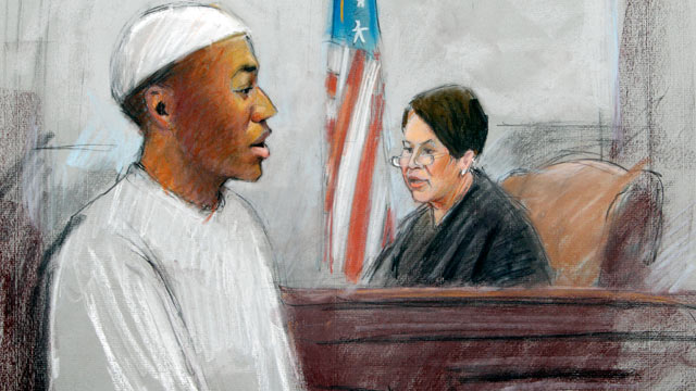 PHOTO: In a courtroom sketch, Umar Farouk Abdulmutallab, the man who tried blowing up a Northwest Airlines flight on Christmas Day 2009 is sentenced to life in prison by U.S. District Judge Nancy Edmonds in federal court in Detroit, Feb. 16, 2012.