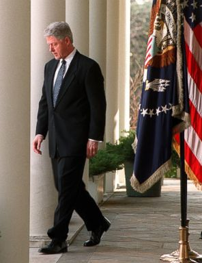 PHOTO: President Bill Clinton walks out to make a statement to the media in the Rose Garden at the White House on Feb. 12, 1999.