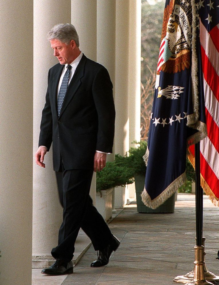 President Bill Clinton walks out to make a statement to the media in the Rose Garden at the White House on Feb. 12, 1999.