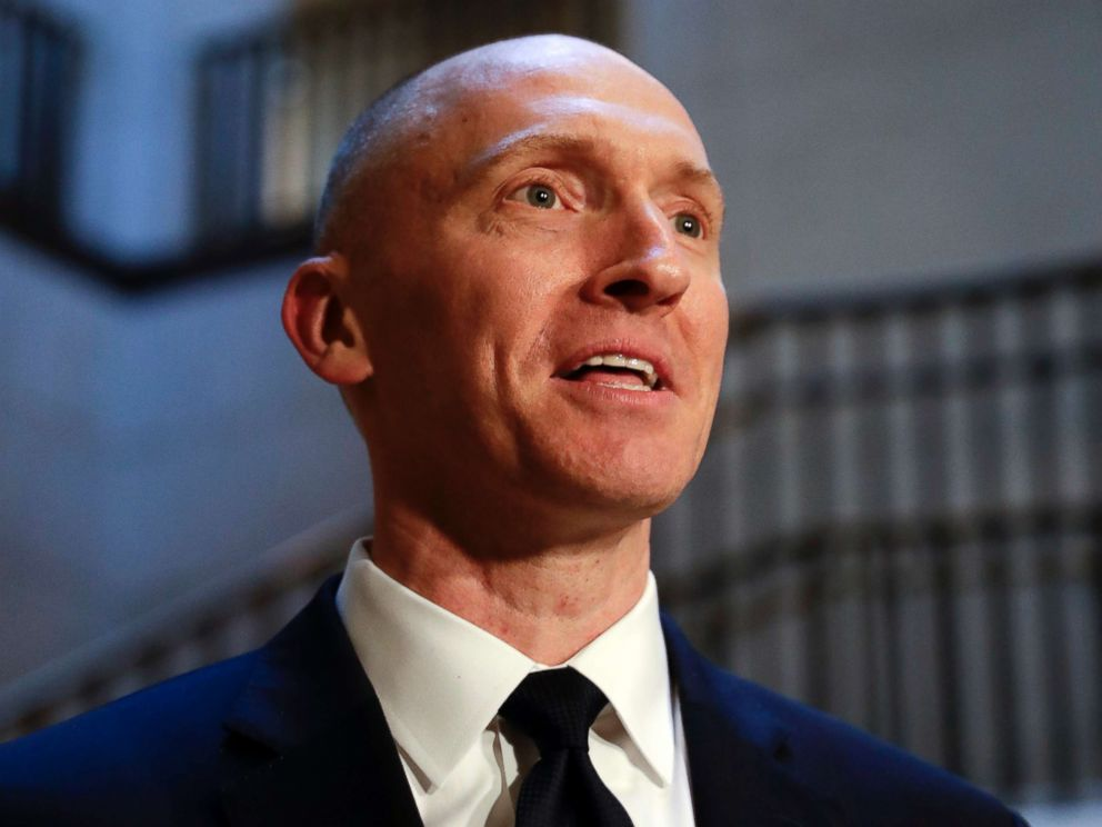 PHOTO: Carter Page, a foreign policy adviser to Donald Trumps 2016 presidential campaign, speaks with reporters Nov. 2, 2017 on Capitol Hill in Washington.