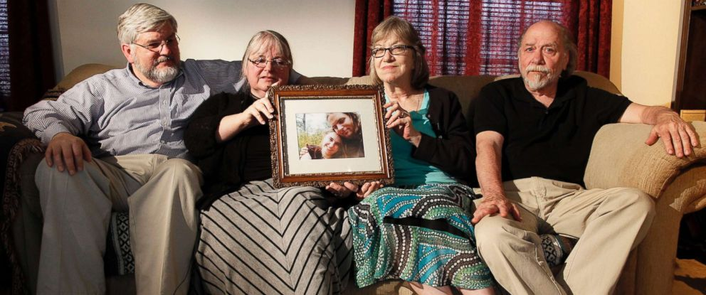 PHOTO: From left, Patrick Boyle, Linda Boyle, Lyn Coleman and Jim Coleman with a photo of their kidnapped children, Joshua Boyle and Caitlan Coleman, who were kidnapped by the Taliban in late 2012, June 4, 2014, in Stewartstown, Pa.