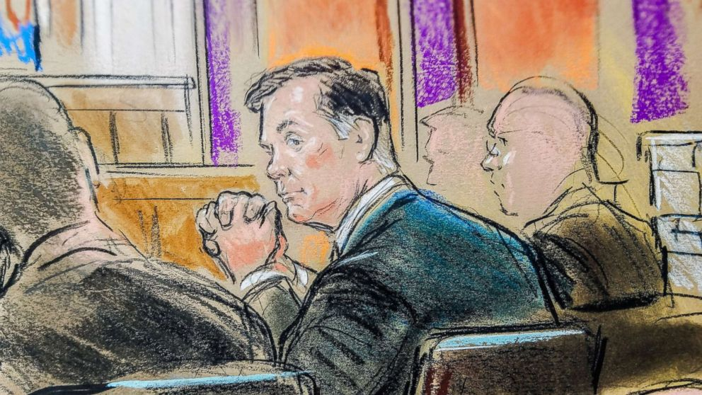 PHOTO: Former Trump campaign manager Paul Manafort is shown in a court room sketch, as he sits in federal court on the opening day of his trial on bank and tax fraud charges, in Alexandria, Va., July 31, 2018.