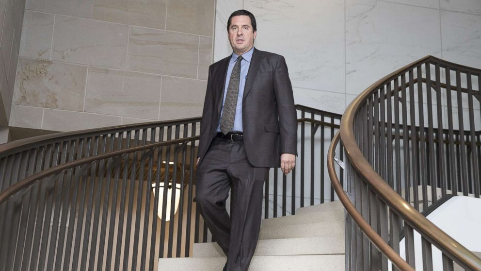 Chairman of the House Permanent Select Committee on Intelligence, Devin Nunes, walks to a meeting of the  House Permanent Select Committee on Intelligence, on Capitol Hill, Feb. 5, 2018, in Washington.