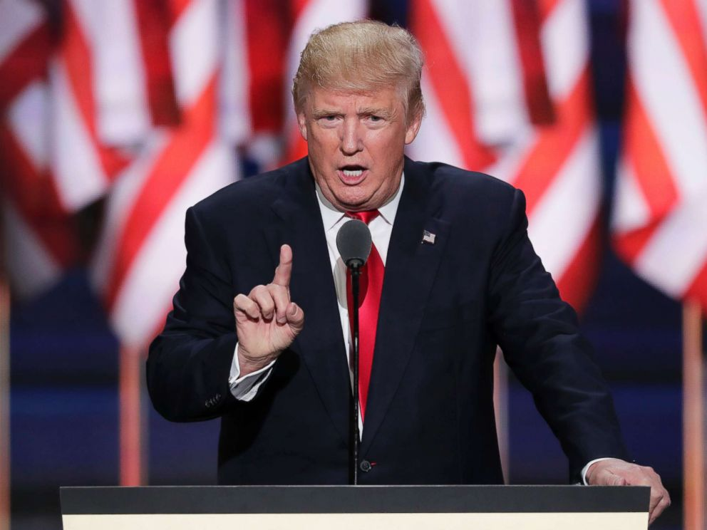 PHOTO: Republican Presidential candidate Donald Trump speaks during the final day of the Republican National Convention in Cleveland, in this July 21, 2016 file photo.