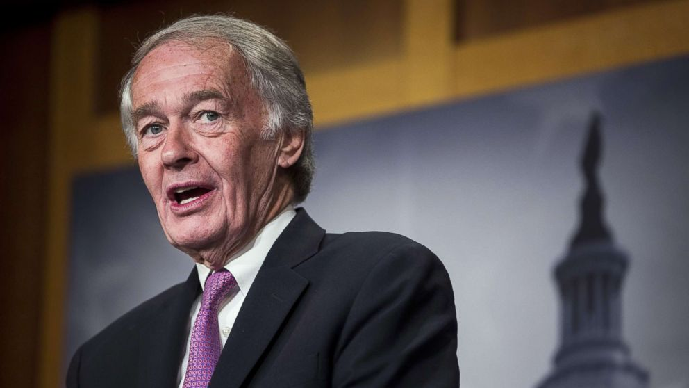 Sen. Ed Markey speaks during a news conference on a petition to force a vote on net neutrality on Capitol Hill in Washington, D.C., May 9, 2018.