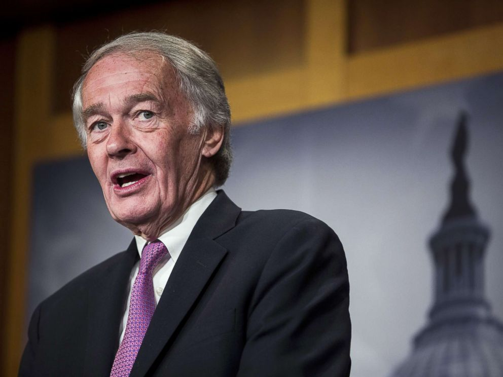 PHOTO: Sen. Ed Markey speaks during a news conference on a petition to force a vote on net neutrality on Capitol Hill in Washington, D.C., May 9, 2018.