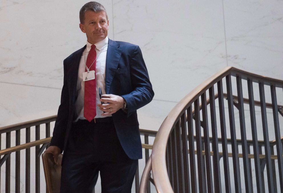 PHOTO: Erik Prince, former Navy Seal and founder of private military contractor Blackwater USA, arrives to testify during a closed-door House Select Intelligence Committee hearing on Capitol Hill in Washington, D.C., Nov. 30, 2017.