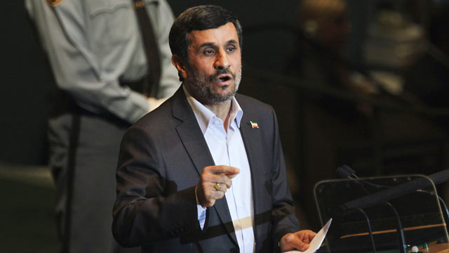 PHOTO: Iranian President Mahmoud Ahmadinejad addresses the 66th General Assembly Session at the United Nations, New York City, Sept. 22, 2011.