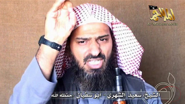 PHOTO: Al-Qaeda in the Arabian Peninsulas branch assistant commander Said al-Shihri speaks on video, Oct. 6, 2010.