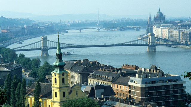 PHOTO: Chain Bridge and Houses of Parliament in Budapest, Hungary, are seen in this elevated view.