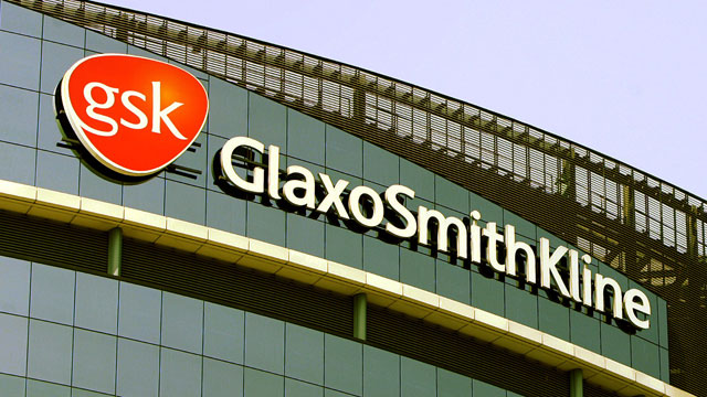 PHOTO: The company logo of GlaxoSmithKline, is seen on the headquarters building in London.
