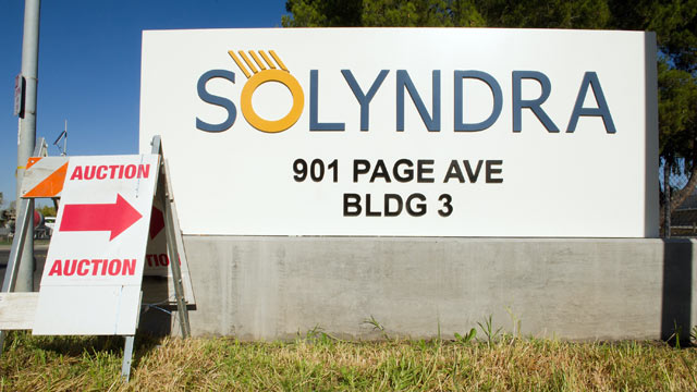 PHOTO: An auction sign stands at the entrance Solyndra LLC building in Fremont, California, U.S., Nov. 2, 2011.