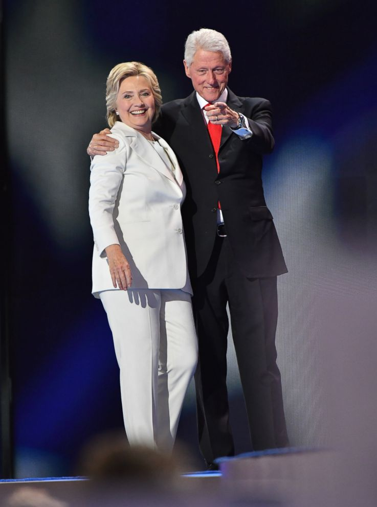 PHOTO: Hillary Clinton and Bill Clinton look over the crowd of delegates at the 2016 Democratic National Convention-Day 4 at Wells Fargo Center, July 27, 2016, in Philadelphia, Penn.