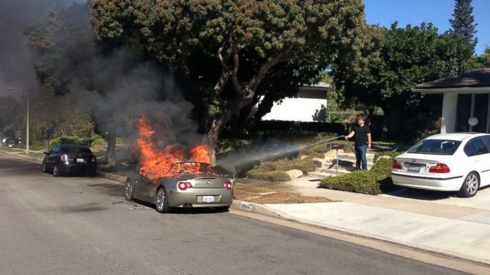 Brandie Macias told KABC-TV that her 2005 BMW Z4 spontaneously caught fire in the middle of the afternoon while it was parked on the side of the street.