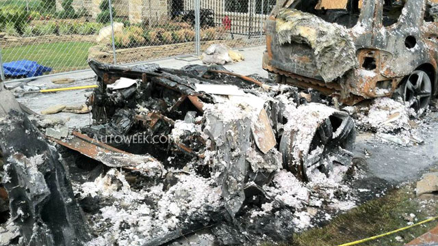 PHOTO: The remains of a Fisker Karma. Robert Baker, the chief fire investigator for Fort Bend County, Texas, told AutoWeek magazine that the Karma was in flames less than three minutes after the driver pulled into the garage.