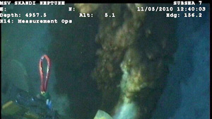 "Under pressure from media, and from government officials, BP Tuesday released this single photo showing the ""Main Oil Leak"" from the Deepwater Horizon disaster in the Gulf of Mexico, and said video footage was coming."
