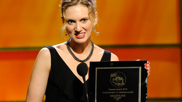 PHOTO: Anna Schecter accepting her award for producing outstanding works that raise public awareness of animal issues at the 25th Annual Genesis Awards, March 19, 2011.