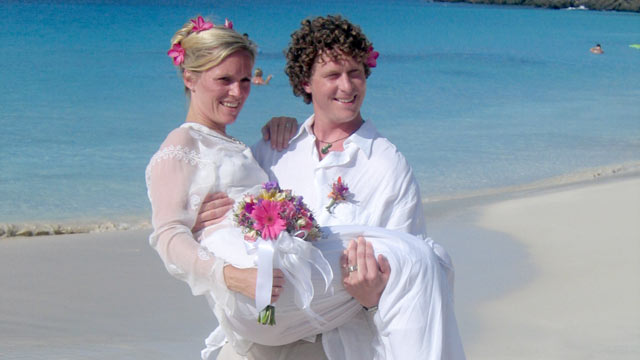 PHOTO: Seen here is Stephanie Wear and her husband on the beach celebrating their green wedding.