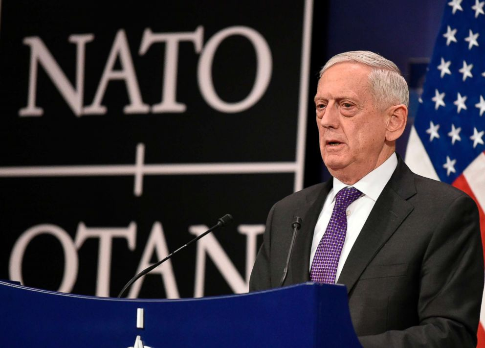 PHOTO: Secretary of Defence James Mattis addresses a press conference on the second day of a NATO Defence Ministers meeting at the NATO headquarters in Brussels, Feb. 15, 2018.