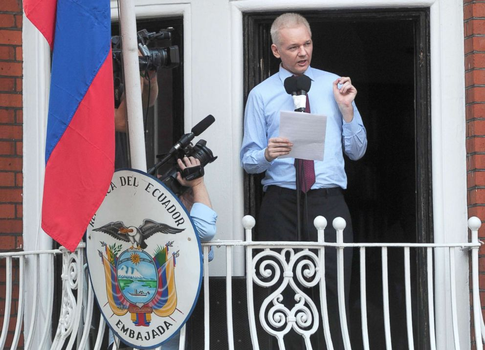 PHOTO: In this file picture taken on August 19, 2012 Wikileaks founder Julian Assange addresses the media and his supporters from the balcony of the Ecuadorian Embassy in London.