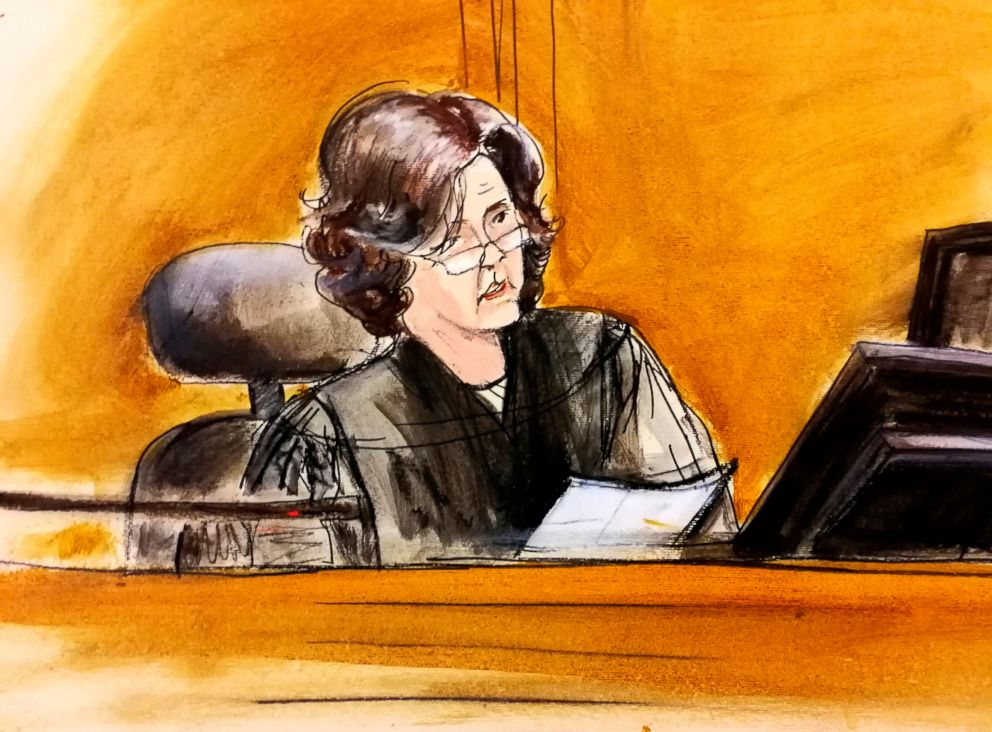 PHOTO: A courtroom sketch of U.S. District Judge Kimba Wood during a federal court hearing in New York, April 16, 2018.