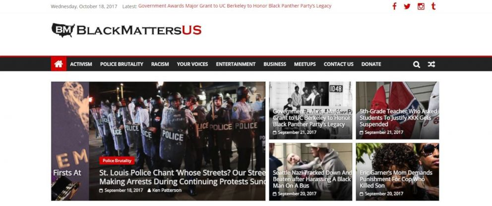 PHOTO: A screenshot taken from the BlackMattersUS website.