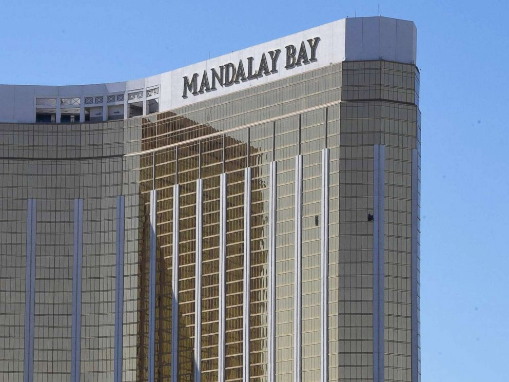 PHOTO: Broken windows are seen at the Mandalay Bay Resort and Casino, Oct. 2, 2017, in Las Vegas.