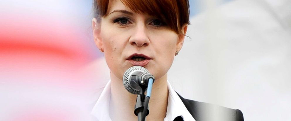 PHOTO: In this file photo, Maria Butina, leader of a pro-gun organization in Russia, speaks to a crowd during a rally in support of legalizing the possession of handguns in Moscow, Russia, April 21, 2013.