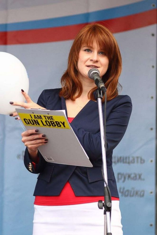 PHOTO: An undated handout picture made available by the Press Service of the Civic Chamber of the Russian Federation on chambers official website shows The Right to Bear Weapons Public Organizations Board Chairman Maria Butina attending a rally.