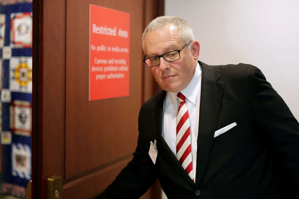 PHOTO: Former Trump campaign aide Michael Caputo arrives to testify before the House Intelligence Committee during a closed-door session at the U.S. Capitol Visitors Center July 14, 2017 in Washington.