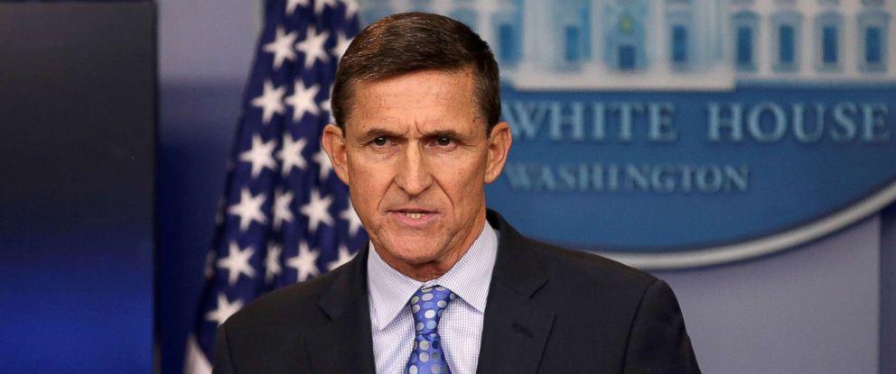 PHOTO: White House National Security Advisor Michael Flynn speaks at the White House, Washington, on February 1, 2017.
